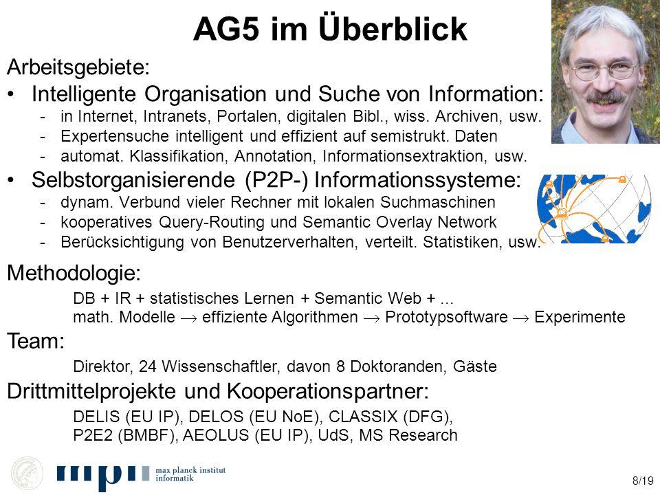 8/19 AG5 im Überblick Arbeitsgebiete: Intelligente Organisation und Suche von Information: -in Internet, Intranets, Portalen, digitalen Bibl., wiss. A