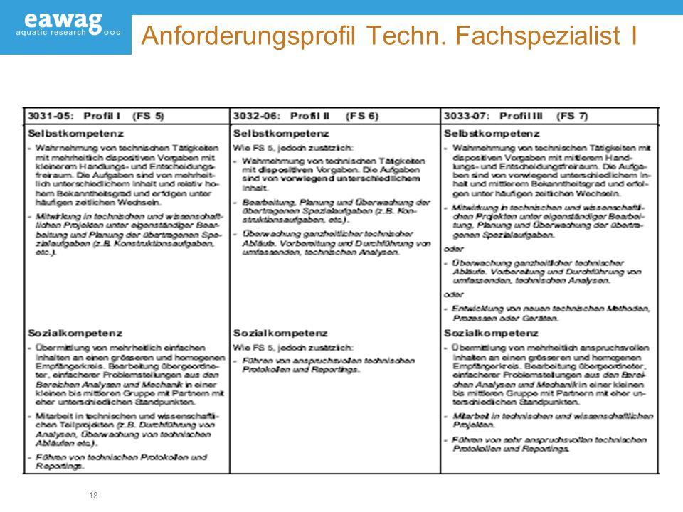 18 Anforderungsprofil Techn. Fachspezialist I