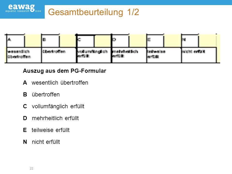 22 Gesamtbeurteilung 1/2 Auszug aus dem PG-Formular Awesentlich übertroffen B übertroffen C vollumfänglich erfüllt D mehrheitlich erfüllt E teilweise