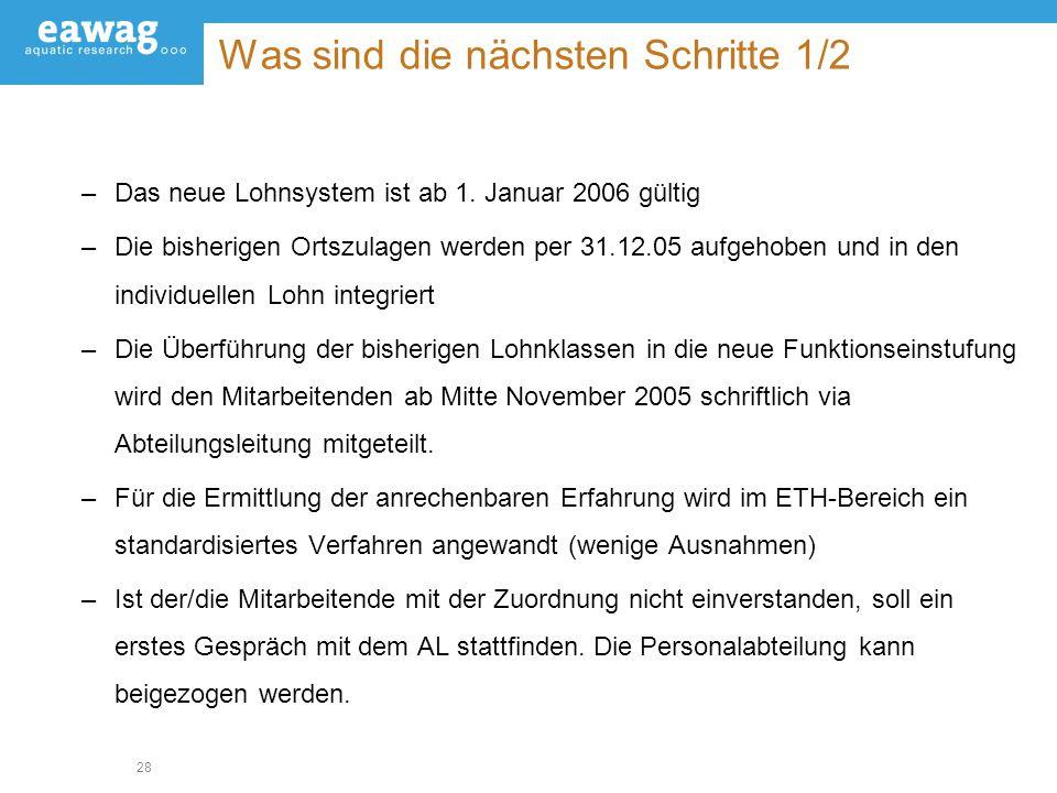 28 Was sind die nächsten Schritte 1/2 –Das neue Lohnsystem ist ab 1. Januar 2006 gültig –Die bisherigen Ortszulagen werden per 31.12.05 aufgehoben und