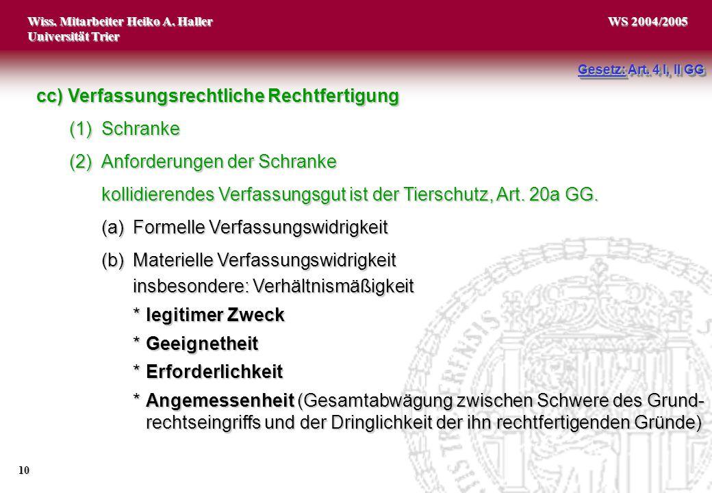 Wiss. Mitarbeiter Heiko A. Haller Universität Trier 10 WS 2004/2005 Gesetz: Art. 4 I, II GG cc) Verfassungsrechtliche Rechtfertigung (1)Schranke (2)An
