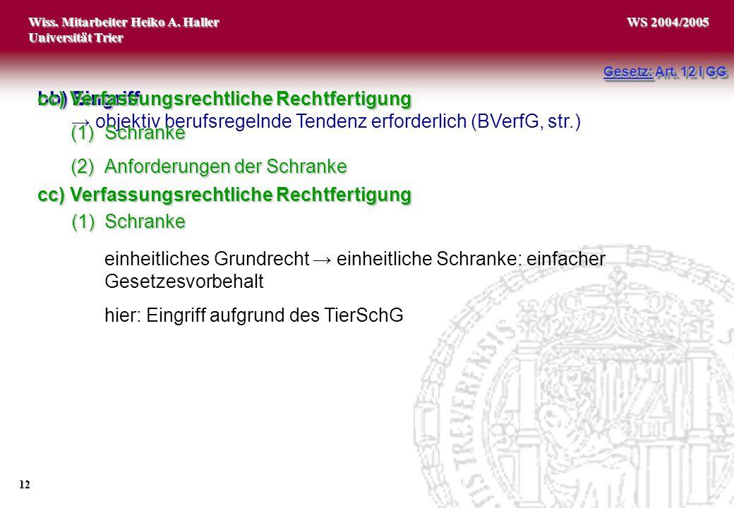 Wiss. Mitarbeiter Heiko A. Haller Universität Trier 12 WS 2004/2005 bb) Eingriff → objektiv berufsregelnde Tendenz erforderlich (BVerfG, str.) cc) Ver