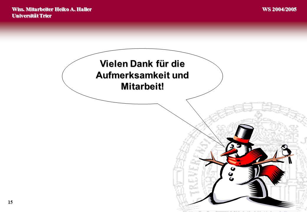Wiss. Mitarbeiter Heiko A. Haller Universität Trier 15 WS 2004/2005 Vielen Dank für die Aufmerksamkeit und Mitarbeit!