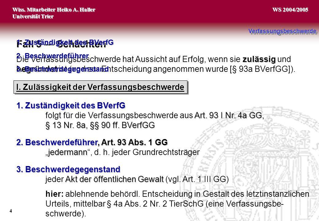 Wiss. Mitarbeiter Heiko A. Haller Universität Trier 4 WS 2004/2005 1. Zuständigkeit des BVerfG Art. 93 I Nr. 4a GG, folgt für die Verfassungsbeschwerd