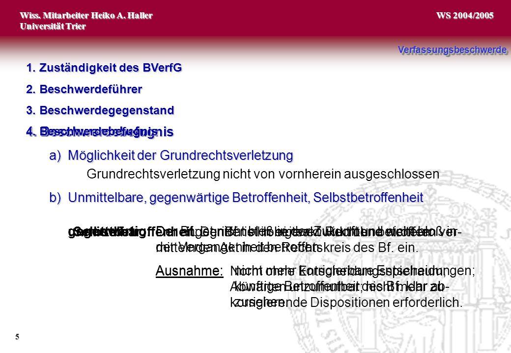Wiss. Mitarbeiter Heiko A. Haller Universität Trier 5 WS 2004/2005 gegenwärtig:Der Bf. ist nicht bloß in der Zukunft und nicht bloß in der Vergangenhe