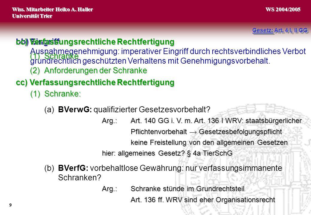 Wiss. Mitarbeiter Heiko A. Haller Universität Trier 9 WS 2004/2005 Gesetz: Art. 4 I, II GG bb) Eingriff Ausnahmegenehmigung: imperativer Eingriff durc