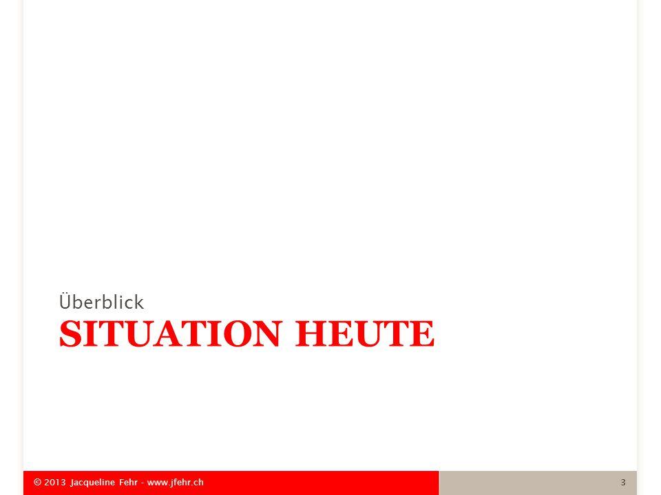 SITUATION HEUTE Überblick © 2013 Jacqueline Fehr - www.jfehr.ch 3