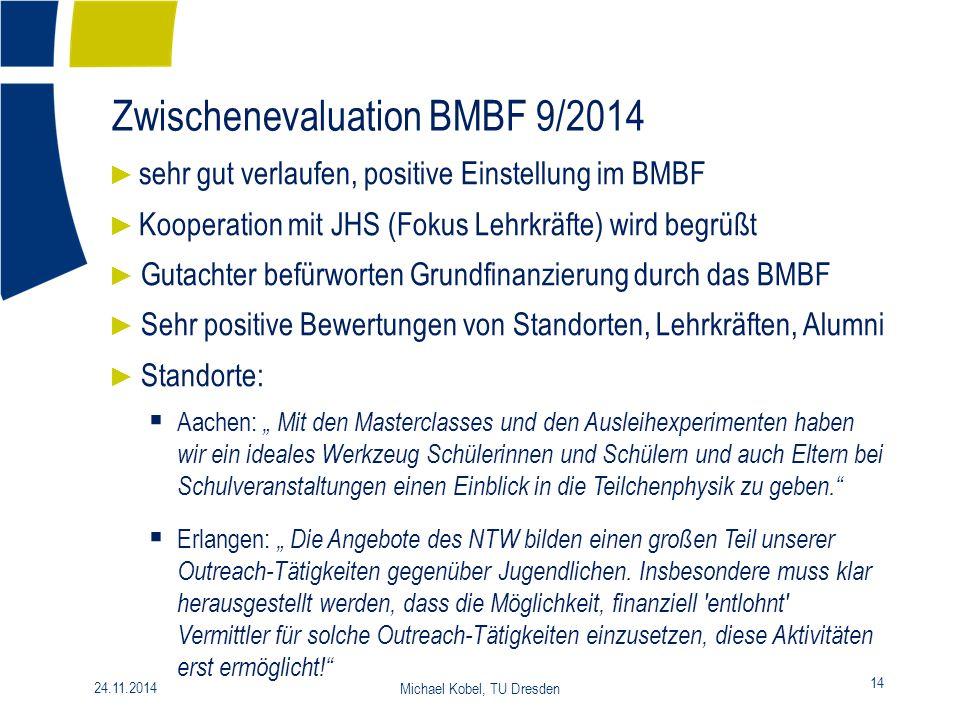 Zwischenevaluation BMBF 9/2014 14 24.11.2014 Michael Kobel, TU Dresden ► sehr gut verlaufen, positive Einstellung im BMBF ► Kooperation mit JHS (Fokus