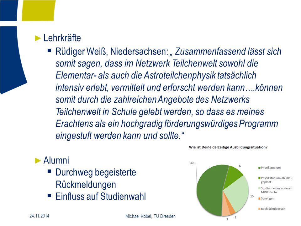 """15 24.11.2014 Michael Kobel, TU Dresden ► Lehrkräfte  Rüdiger Weiß, Niedersachsen: """" Zusammenfassend lässt sich somit sagen, dass im Netzwerk Teilche"""