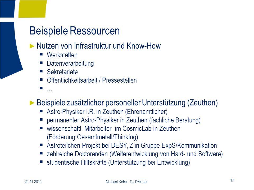 Beispiele Ressourcen 17 24.11.2014 Michael Kobel, TU Dresden ► Nutzen von Infrastruktur und Know-How  Werkstätten  Datenverarbeitung  Sekretariate
