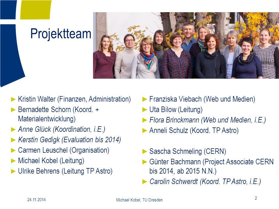 Projektteam 2 24.11.2014 Michael Kobel, TU Dresden ► Kristin Walter (Finanzen, Administration) ► Bernadette Schorn (Koord. + Materialentwicklung) ► An