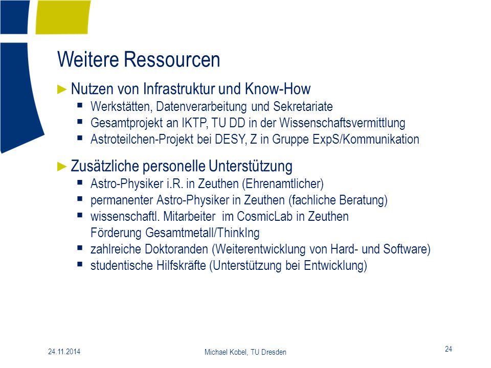 Weitere Ressourcen 24 24.11.2014 Michael Kobel, TU Dresden ► Nutzen von Infrastruktur und Know-How  Werkstätten, Datenverarbeitung und Sekretariate 