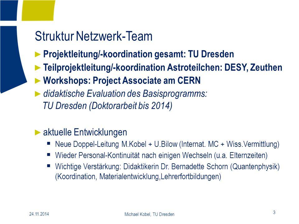 Struktur Netzwerk-Team 3 24.11.2014 Michael Kobel, TU Dresden ► Projektleitung/-koordination gesamt: TU Dresden ► Teilprojektleitung/-koordination Ast