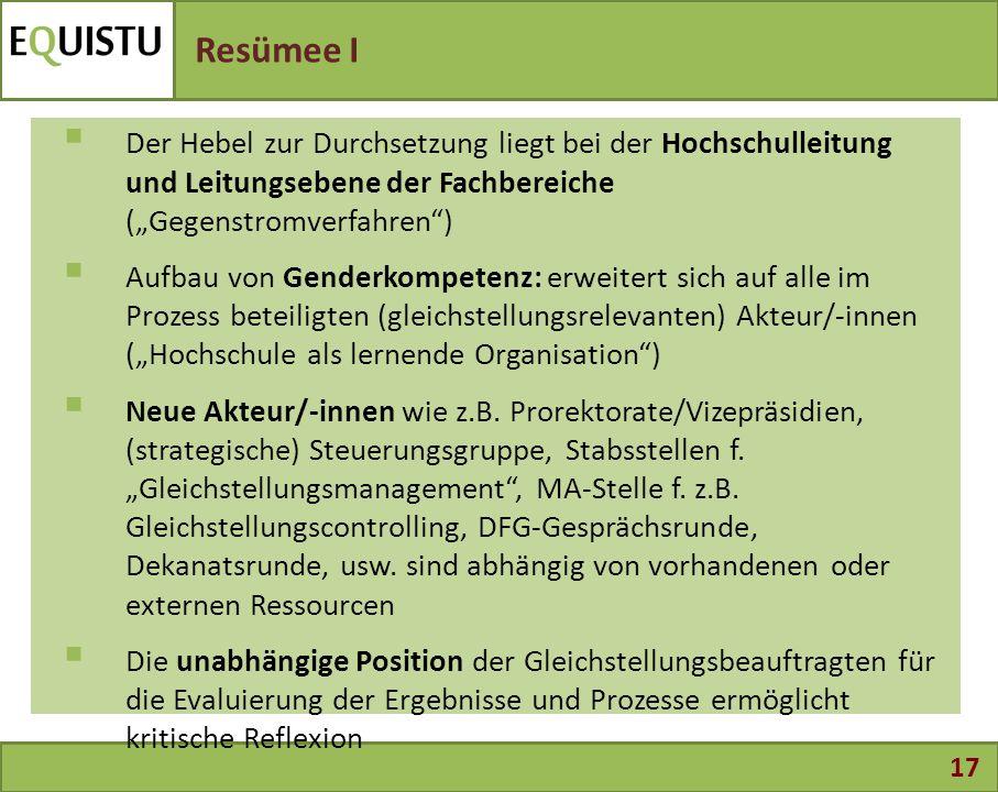 """17 Resümee I  Der Hebel zur Durchsetzung liegt bei der Hochschulleitung und Leitungsebene der Fachbereiche (""""Gegenstromverfahren"""")  Aufbau von Gende"""