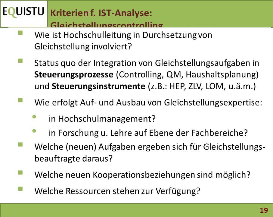 19 Kriterien f. IST-Analyse: Gleichstellungscontrolling  Wie ist Hochschulleitung in Durchsetzung von Gleichstellung involviert?  Status quo der Int