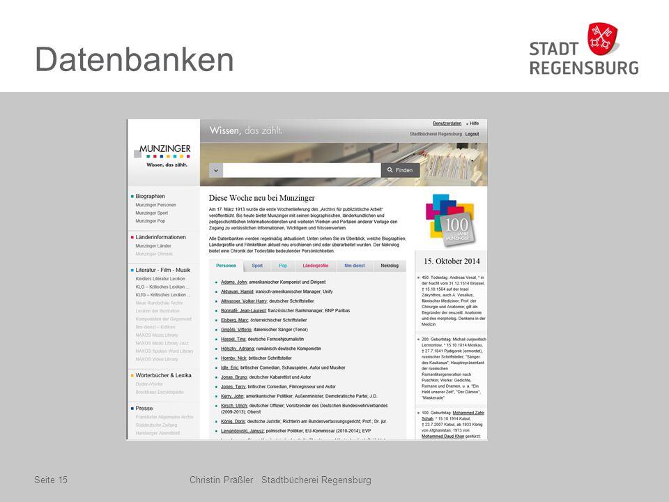 Datenbanken Christin Präßler Stadtbücherei RegensburgSeite 15