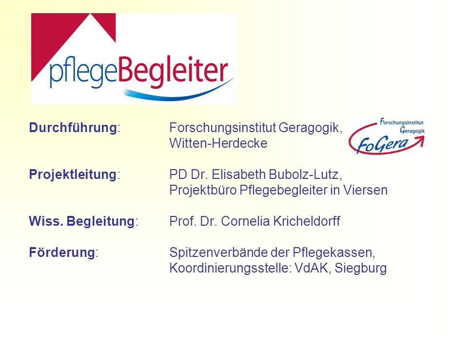 Durchführung:Forschungsinstitut Geragogik, Witten-Herdecke Projektleitung: PD Dr.