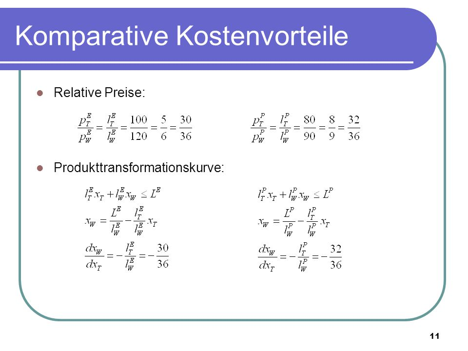 11 Komparative Kostenvorteile Relative Preise: Produkttransformationskurve: