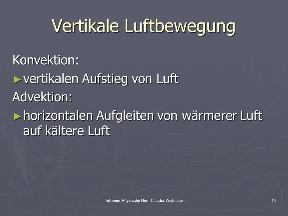 Tutorium Physische Geo- Claudia Weitnauer10 Vertikale Luftbewegung Konvektion: ► vertikalen Aufstieg von Luft Advektion: ► horizontalen Aufgleiten von