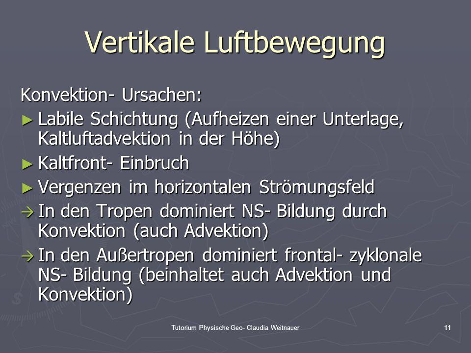 Tutorium Physische Geo- Claudia Weitnauer11 Vertikale Luftbewegung Konvektion- Ursachen: ► Labile Schichtung (Aufheizen einer Unterlage, Kaltluftadvek