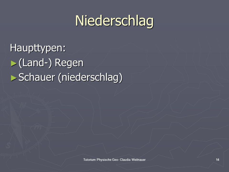 Tutorium Physische Geo- Claudia Weitnauer14 Niederschlag Haupttypen: ► (Land-) Regen ► Schauer (niederschlag)