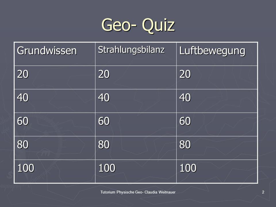 Tutorium Physische Geo- Claudia Weitnauer2 Geo- Quiz GrundwissenStrahlungsbilanzLuftbewegung 202020 404040 606060 808080 100100100