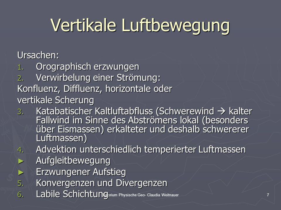 Tutorium Physische Geo- Claudia Weitnauer7 Vertikale Luftbewegung Ursachen: 1. Orographisch erzwungen 2. Verwirbelung einer Strömung: Konfluenz, Diffl