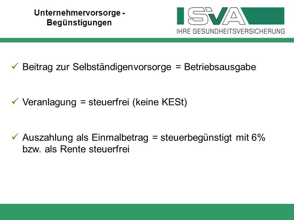 Beitrag zur Selbständigenvorsorge = Betriebsausgabe Veranlagung = steuerfrei (keine KESt) Auszahlung als Einmalbetrag = steuerbegünstigt mit 6% bzw. a