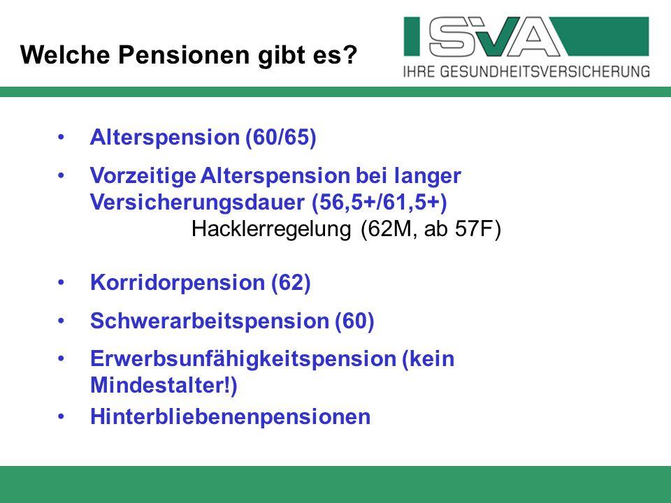 Alterspension (60/65) Vorzeitige Alterspension bei langer Versicherungsdauer (56,5+/61,5+) Hacklerregelung (62M, ab 57F) Korridorpension (62) Schwerar