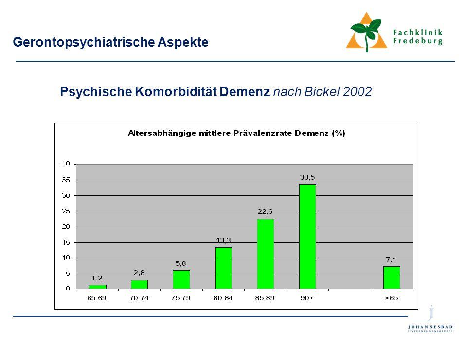 Gerontopsychiatrische Aspekte Psychische Komorbidität Demenz nach Bickel 2002