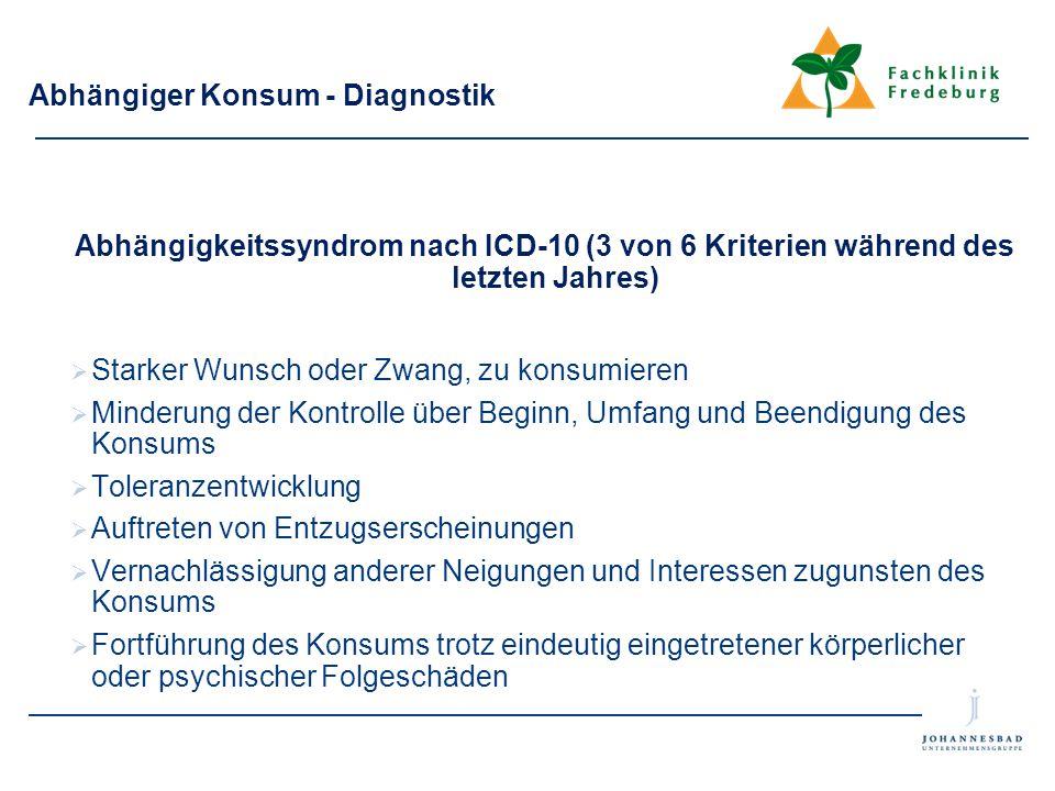 Abhängiger Konsum - Diagnostik Abhängigkeitssyndrom nach ICD-10 (3 von 6 Kriterien während des letzten Jahres)  Starker Wunsch oder Zwang, zu konsumi