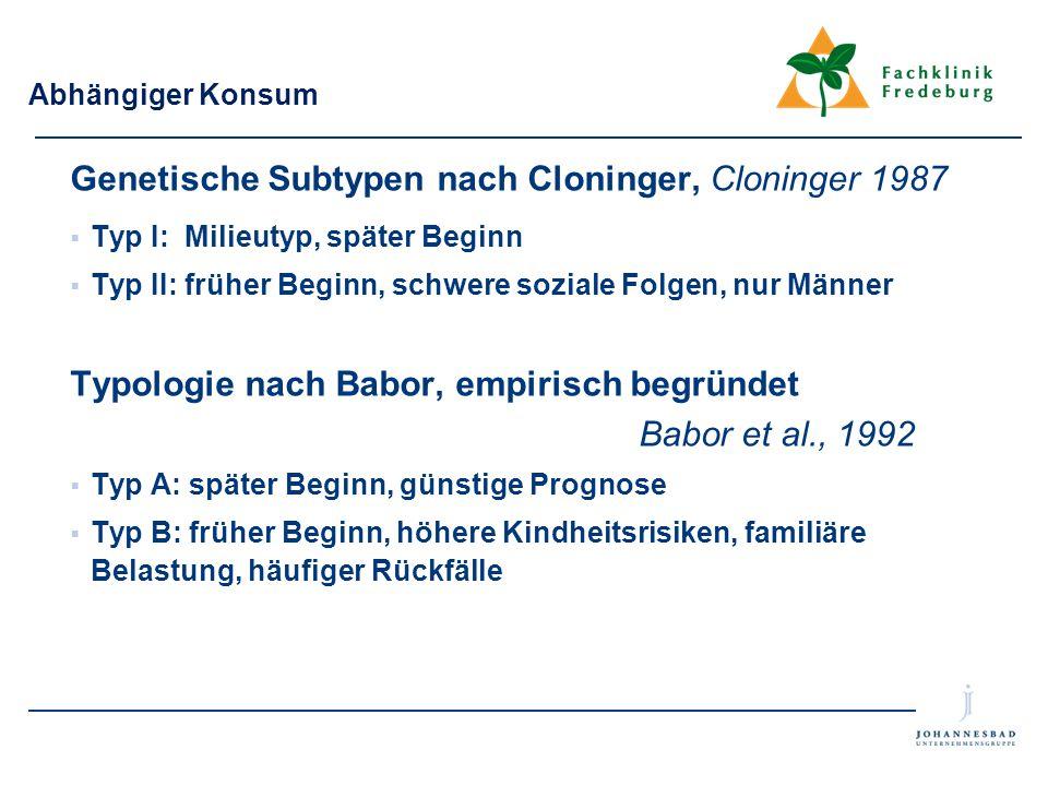 Abhängiger Konsum Genetische Subtypen nach Cloninger, Cloninger 1987  Typ I: Milieutyp, später Beginn  Typ II: früher Beginn, schwere soziale Folgen