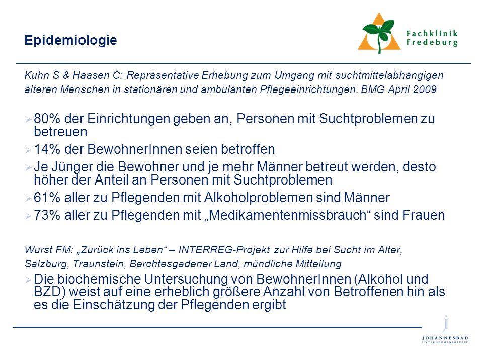 Epidemiologie Kuhn S & Haasen C: Repräsentative Erhebung zum Umgang mit suchtmittelabhängigen älteren Menschen in stationären und ambulanten Pflegeein