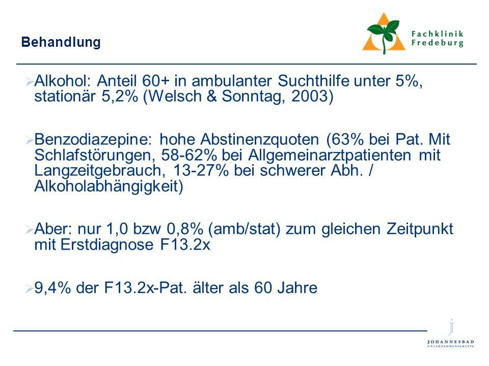 Behandlung  Alkohol: Anteil 60+ in ambulanter Suchthilfe unter 5%, stationär 5,2% (Welsch & Sonntag, 2003)  Benzodiazepine: hohe Abstinenzquoten (63