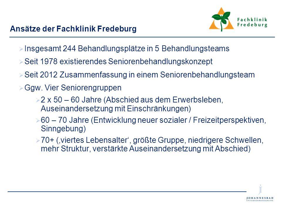 Ansätze der Fachklinik Fredeburg  Insgesamt 244 Behandlungsplätze in 5 Behandlungsteams  Seit 1978 existierendes Seniorenbehandlungskonzept  Seit 2