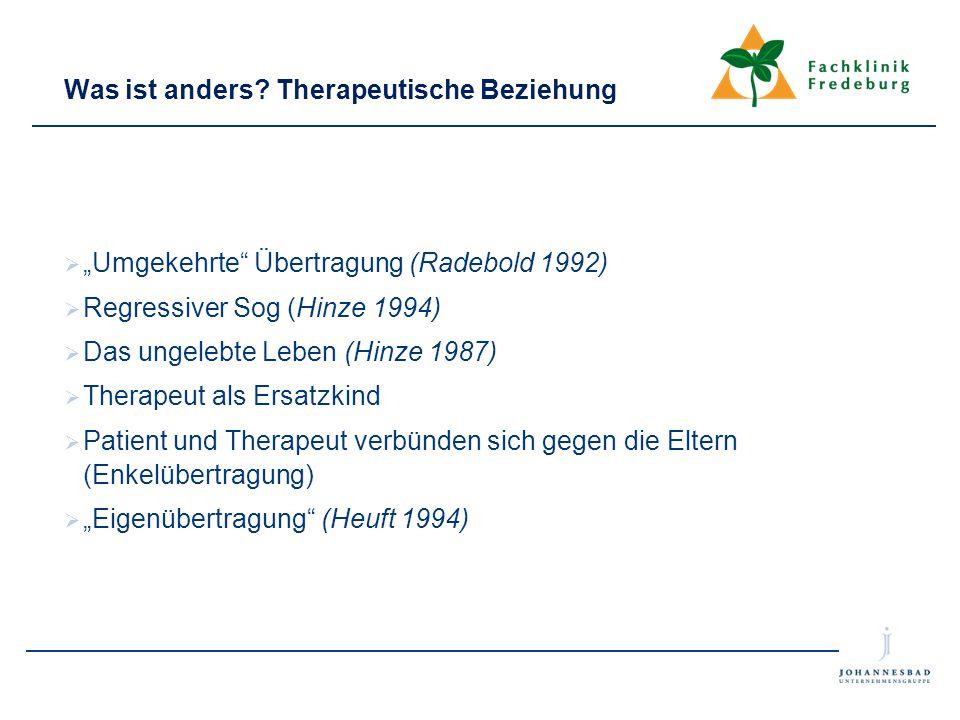 """Was ist anders? Therapeutische Beziehung  """"Umgekehrte"""" Übertragung (Radebold 1992)  Regressiver Sog (Hinze 1994)  Das ungelebte Leben (Hinze 1987)"""