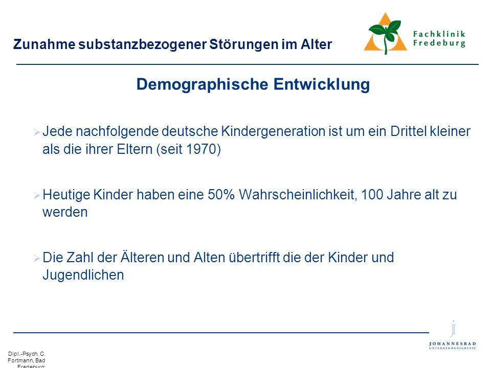 Dipl.-Psych. C. Fortmann, Bad Fredeburg: Substanzbezog ene Störungen bei Älteren. Gevelsberg. 24. Oktober 2012 Zunahme substanzbezogener Störungen im