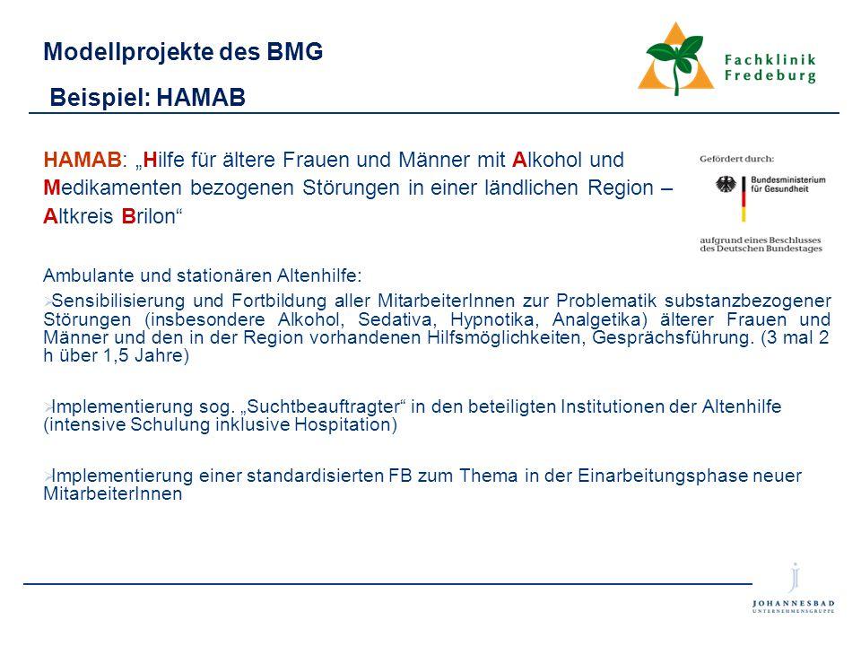 """Modellprojekte des BMG Beispiel: HAMAB HAMAB: """"Hilfe für ältere Frauen und Männer mit Alkohol und Medikamenten bezogenen Störungen in einer ländlichen"""