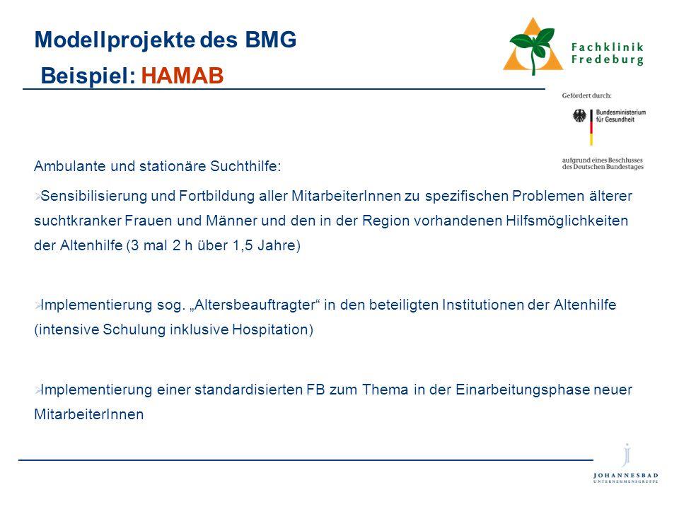 Modellprojekte des BMG Beispiel: HAMAB Ambulante und stationäre Suchthilfe:  Sensibilisierung und Fortbildung aller MitarbeiterInnen zu spezifischen