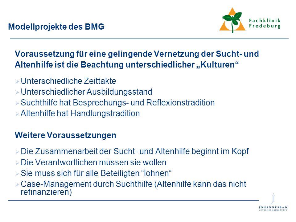 """Modellprojekte des BMG Voraussetzung für eine gelingende Vernetzung der Sucht- und Altenhilfe ist die Beachtung unterschiedlicher """"Kulturen""""  Untersc"""
