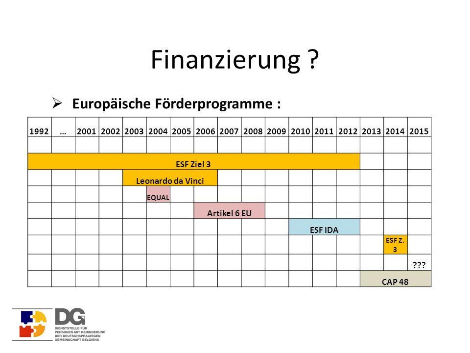 Finanzierung ?  Europäische Förderprogramme : 1992…200120022003200420052006200720082009201020112012201320142015 ESF Ziel 3 Leonardo da Vinci EQUAL Ar