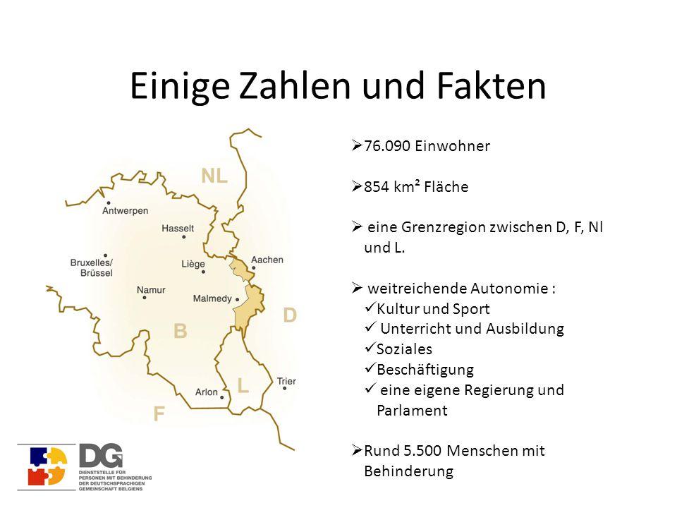 Einige Zahlen und Fakten  76.090 Einwohner  854 km² Fläche  eine Grenzregion zwischen D, F, Nl und L.  weitreichende Autonomie : Kultur und Sport