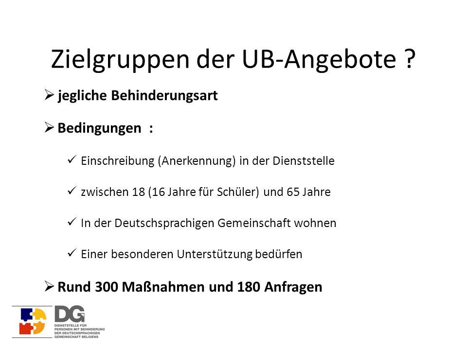 Zielgruppen der UB-Angebote ?  jegliche Behinderungsart  Bedingungen : Einschreibung (Anerkennung) in der Dienststelle zwischen 18 (16 Jahre für Sch