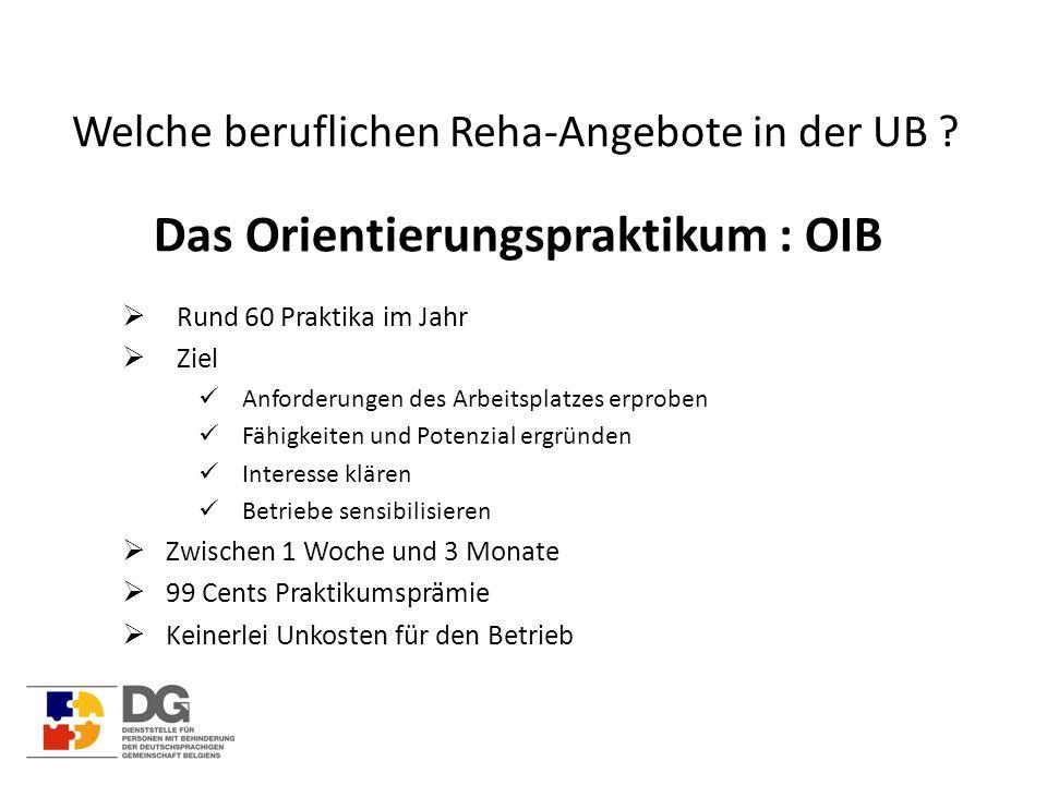 Welche beruflichen Reha-Angebote in der UB ? Das Orientierungspraktikum : OIB  Rund 60 Praktika im Jahr  Ziel Anforderungen des Arbeitsplatzes erpro