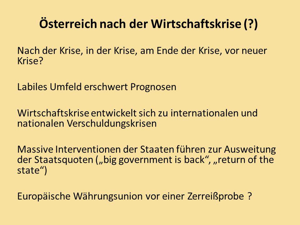 Österreich in der Verschuldungskrise 2007 2009 2013 Schuldenstand %/BIP (EU-Norm > 60%) 59,4 68,5 82,0 Ges.staatl.Defizit %/BIP (EU > 3%) - 0,6 -3,5 -4,0 Konjunkturpolitische Ursachen ( sinkende Steuer/Abgabeneinnahmen, automatische Stabilisatoren, Konjunkturpakete, Bankenpakete) Strukturpolitische Ursachen ( vorgezogene Steuerreform, sozial- und familienpolitische Maßnahmen, Forschungsausgaben).