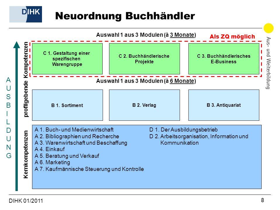 DIHK 01/2011 8 profilgebende Kompetenzen Kernkompetenzen AUSBILDUNGAUSBILDUNG B 1. Sortiment Auswahl 1 aus 3 Modulen (à 3 Monate) A 1. Buch- und Medie