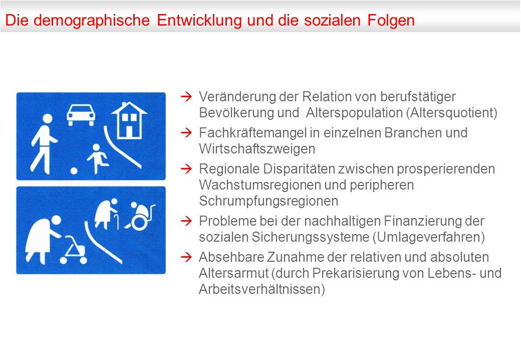 Die demographische Entwicklung und die sozialen Folgen  Veränderung der Relation von berufstätiger Bevölkerung und Alterspopulation (Altersquotient)