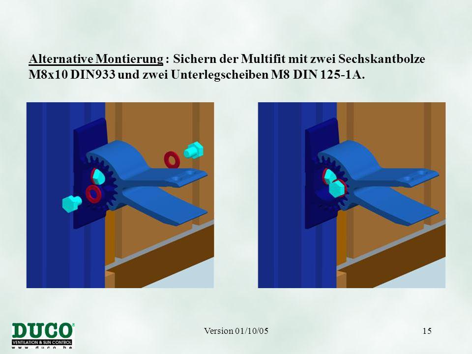 Version 01/10/0515 Alternative Montierung : Sichern der Multifit mit zwei Sechskantbolze M8x10 DIN933 und zwei Unterlegscheiben M8 DIN 125-1A.