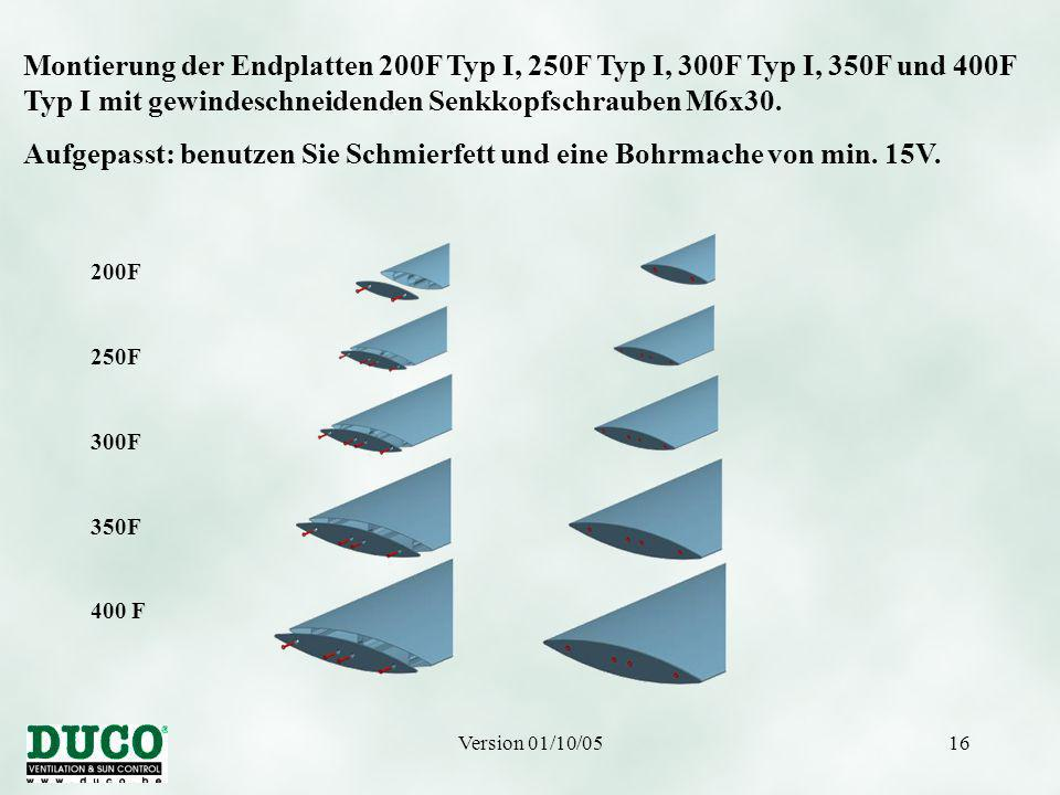 Version 01/10/0516 200F 250F 300F 350F 400 F Montierung der Endplatten 200F Typ I, 250F Typ I, 300F Typ I, 350F und 400F Typ I mit gewindeschneidenden Senkkopfschrauben M6x30.