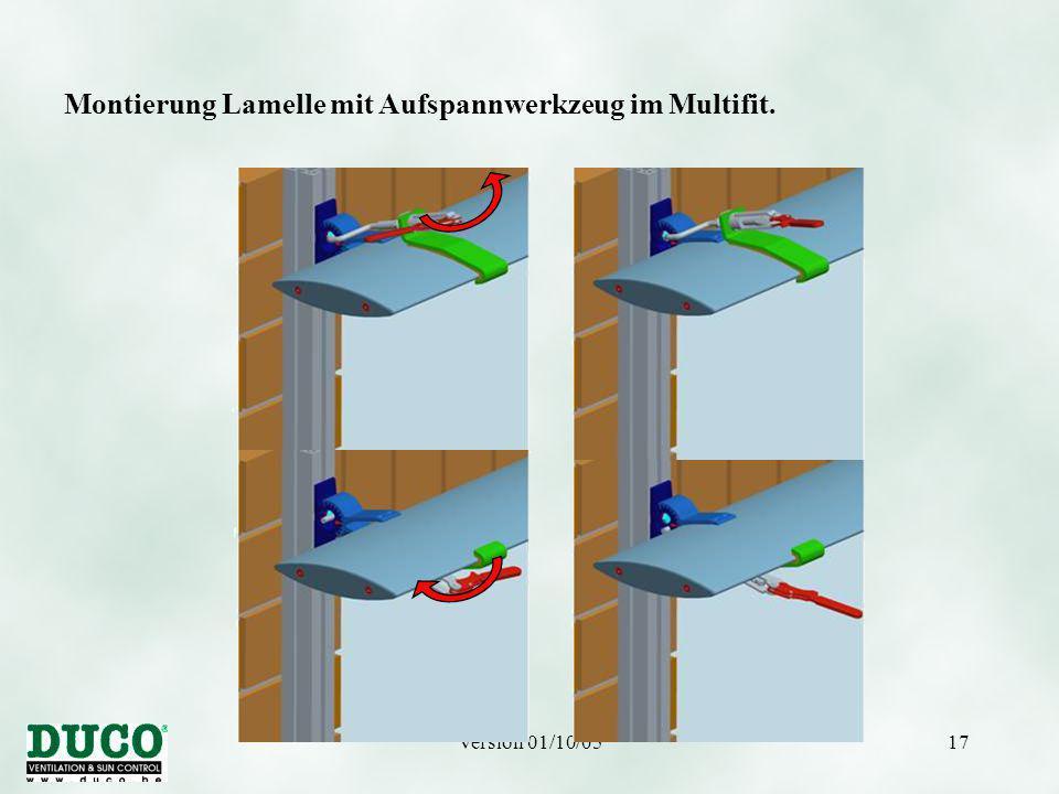 Version 01/10/0517 Montierung Lamelle mit Aufspannwerkzeug im Multifit.
